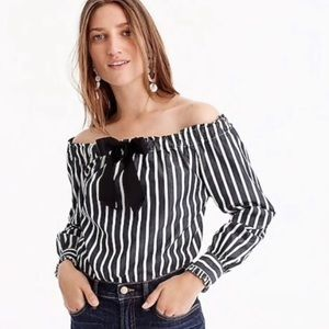 J. Crew off the shoulder striped blouse NWT